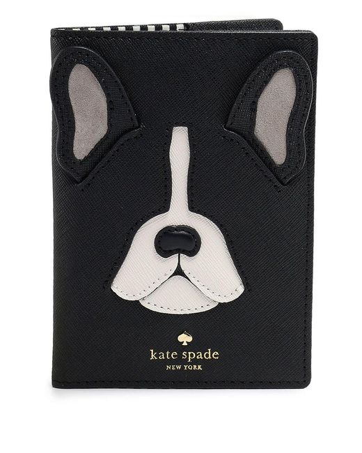 Kate Spade | Black Antoine Frenchie Passport Cover | Lyst
