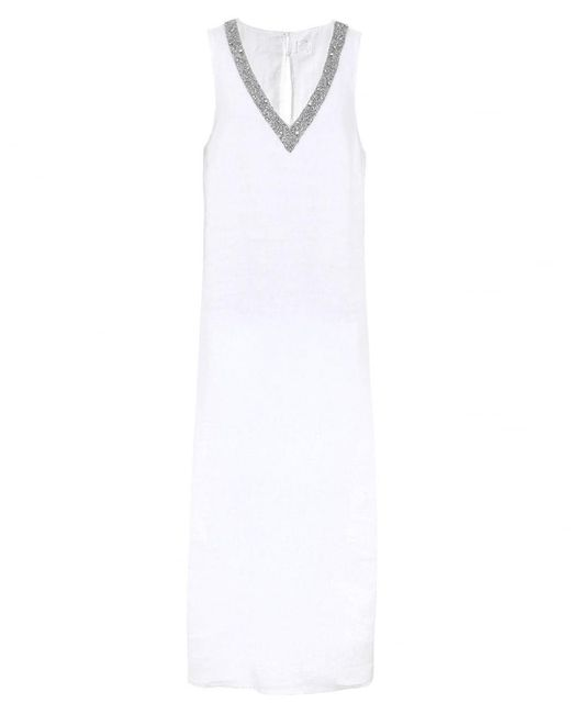 120% Lino - White Beaded V-neck Maxi Dress - Lyst