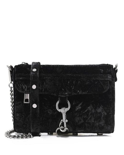 Rebecca Minkoff - Black Velvet Mini Mac Crossbody Bag - Lyst