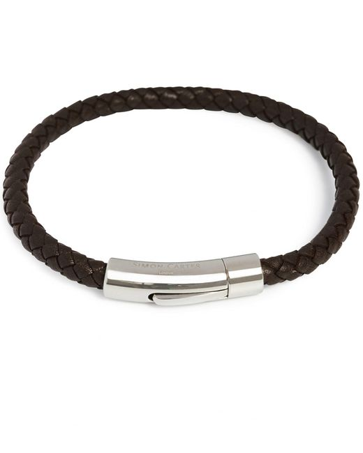 Simon Carter - Brown Slim Woven Leather Bracelet for Men - Lyst