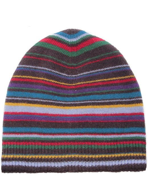Paul Smith | Black Multistripe Beanie Hat for Men | Lyst