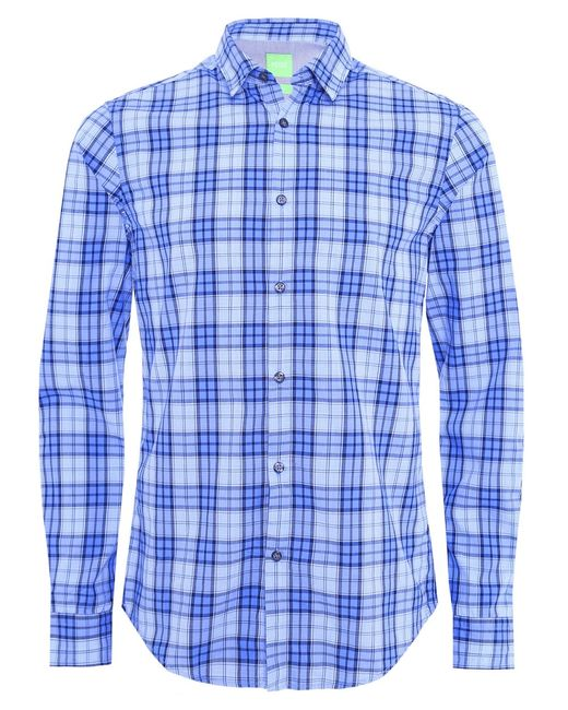BOSS Green | Blue Regular-fit Check Shirt In Cotton: 'c-briar' for Men | Lyst