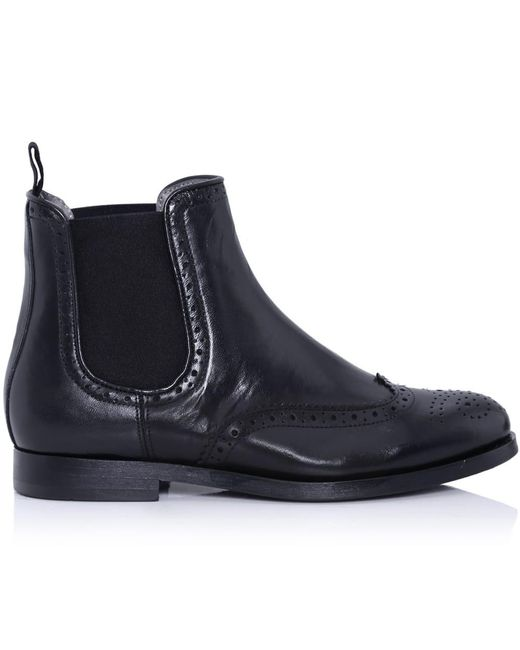 h by hudson asta brogue chelsea boots in black lyst. Black Bedroom Furniture Sets. Home Design Ideas