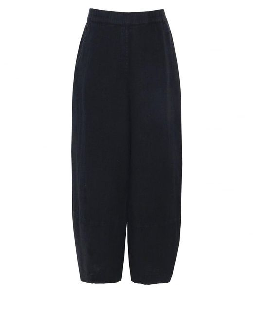 Grizas - Black Linen Cropped Trousers - Lyst