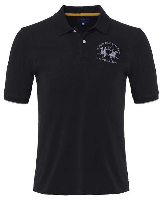 La Martina - Black Plain Polo Shirt for Men - Lyst