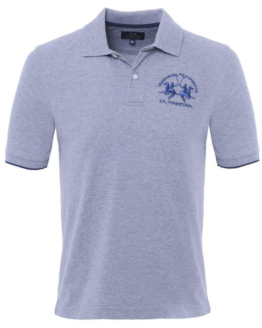 La Martina - Gray Plain Polo Shirt for Men - Lyst