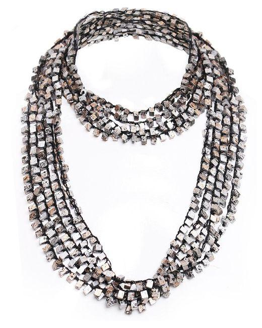 Jianhui   Metallic Crocheted Wooden Bead Necklace   Lyst