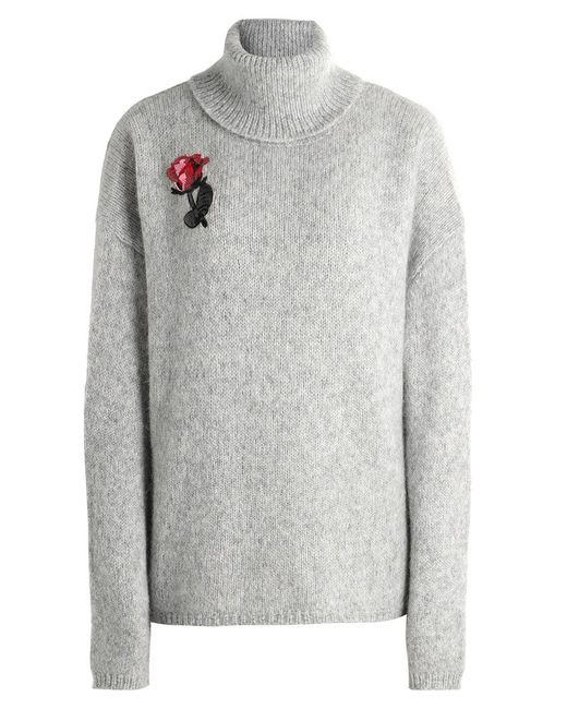 Markus Lupfer - Gray Alpaca Embroidered Rose Jumper - Lyst
