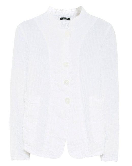 Grizas - White Linen Short Waffle Jacket - Lyst
