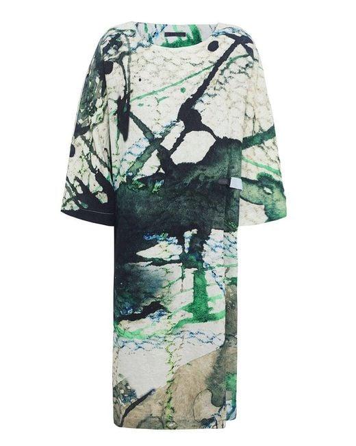 Crea Concept - Green Linen Scale Print Dress - Lyst