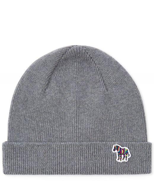 597dec2088f Paul Smith - Gray Grey  zebra  Logo Ribbed Lambswool Beanie Hat for Men ...