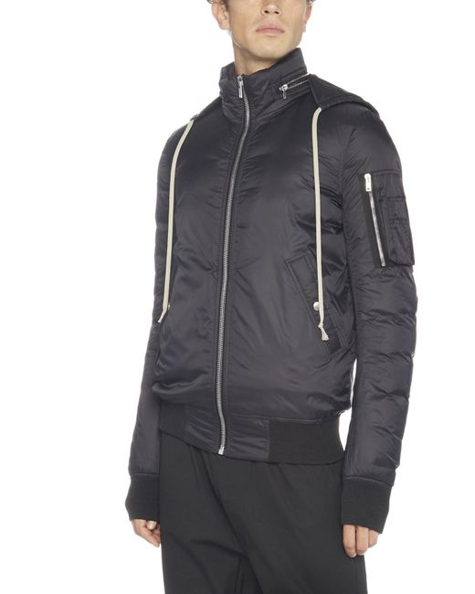 Rick Owens - Black Hooded Bomber Jacket for Men - Lyst