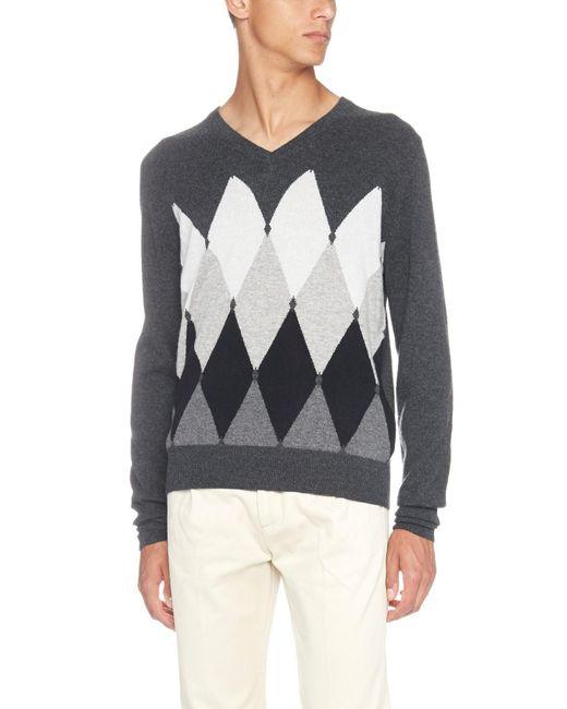 Ballantyne - Gray Diamond Pattern Sweater for Men - Lyst
