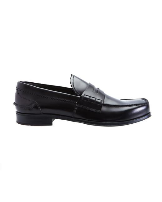 Prada - Black Penny Loafer for Men - Lyst