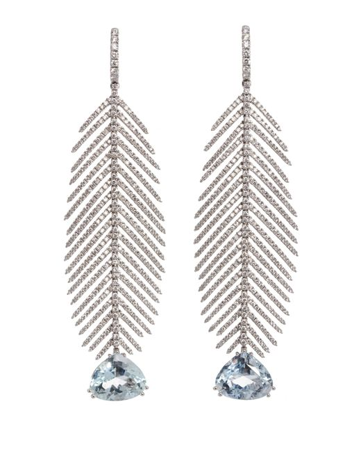 Sidney Garber - White Feathers That Move Aqua Drop Earrings - Lyst
