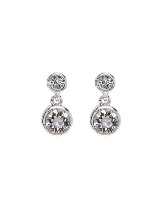 Karen Millen - Metallic Crystal Dot Earrings - Silver Colour - Lyst