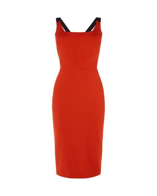 Karen Millen - Red Contrast-strap Sheath Dress - Lyst