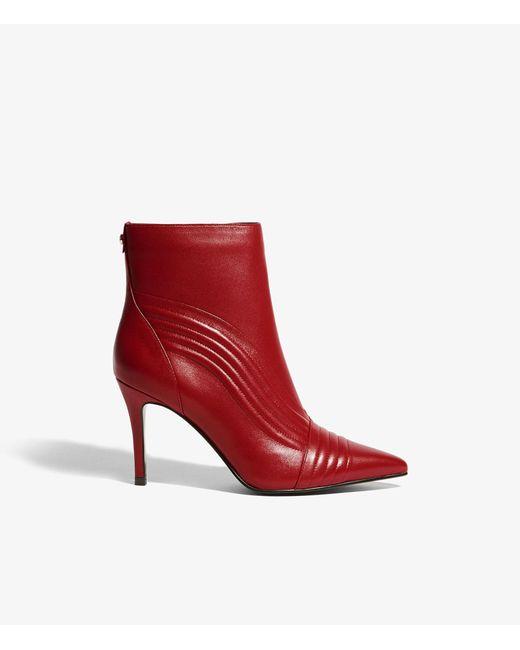 Karen Millen - Red Ribbed Panel Heeled Boots - Lyst
