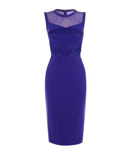 Karen Millen | Origami Pencil Dress - Blue | Lyst