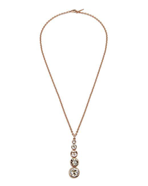 Karen Millen - Metallic Swarovski Teardrop Necklace - Rose Gold Colour - Lyst