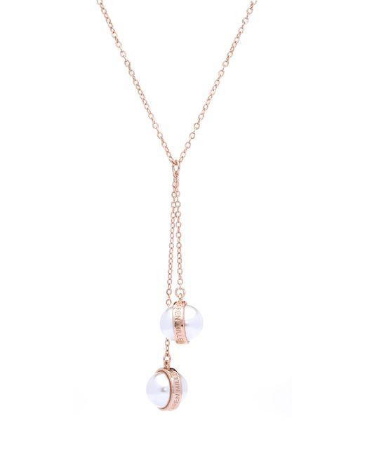 Karen Millen | Metallic Logo Pearl Drop Necklace | Lyst