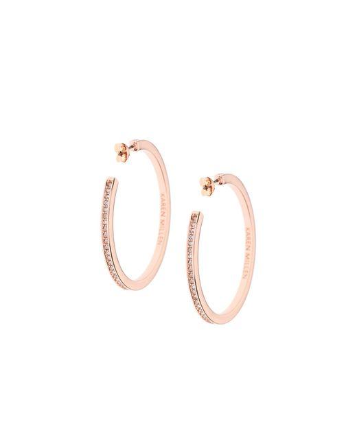 Karen Millen - Metallic Large Hoop Earrings - Rose Gold - Lyst