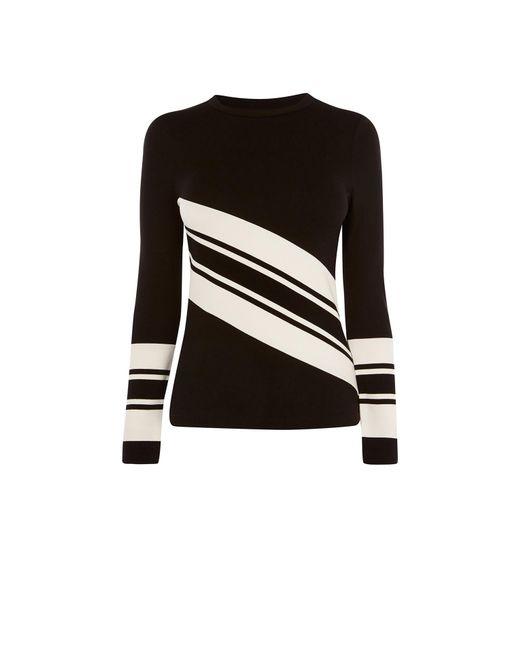 Karen Millen - Black Block Stripe Fitted Top - Lyst