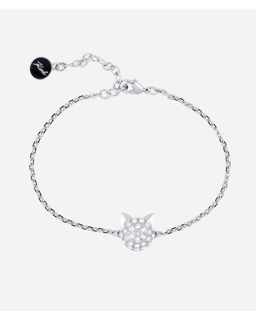 Karl Lagerfeld | Metallic Silver Choupette Pendant Bracelet | Lyst