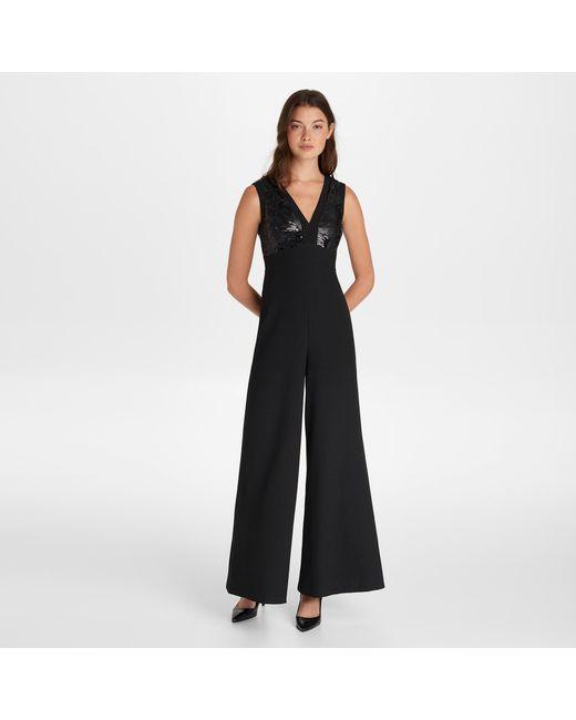 04edf9dead Karl Lagerfeld - Black Sleeveless V Neck Sequin Jumpsuit - Lyst ...