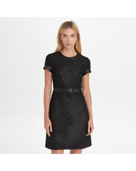 Lyst Karl Lagerfeld Short Sleeve Textured Shimmer Dress In Black