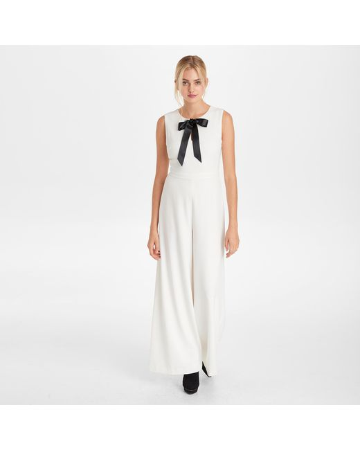 9c21cc2598c Karl Lagerfeld - White Jumpsuit With Tie Neck - Lyst ...