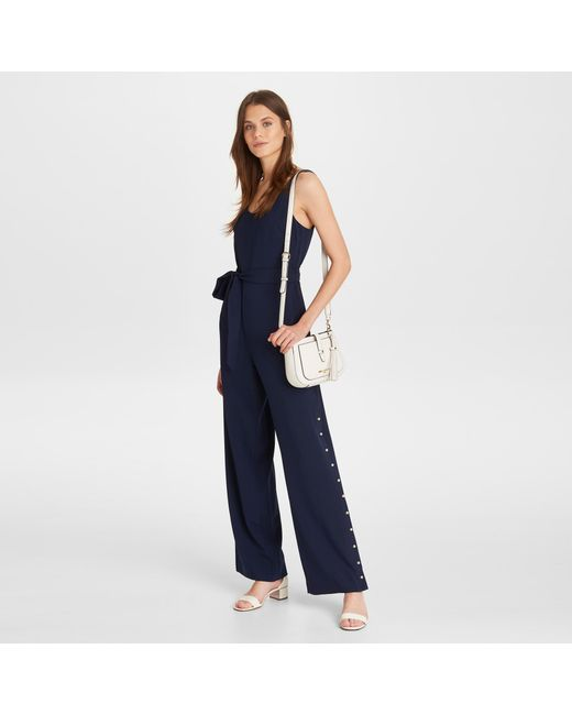 42986abf64a ... Karl Lagerfeld - Blue Sleeveless Jumpsuit With Pearls - Lyst