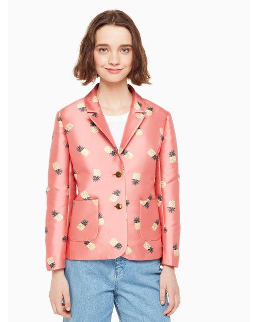 Kate Spade - Pink Pineapple Jacquard Jacket - Lyst