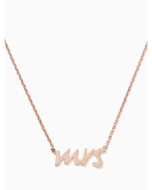 Kate Spade - Metallic Say Yes Mrs. Necklace - Lyst