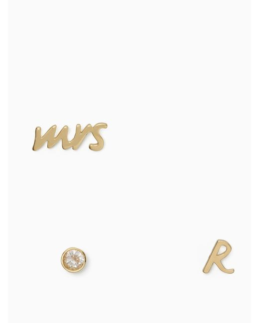 Kate Spade - Multicolor Save The Date Mrs. Initial Stud Set - Lyst