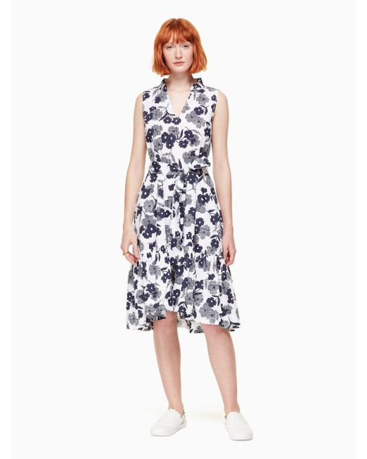 Kate Spade - Blue Shadows Poplin Dress - Lyst