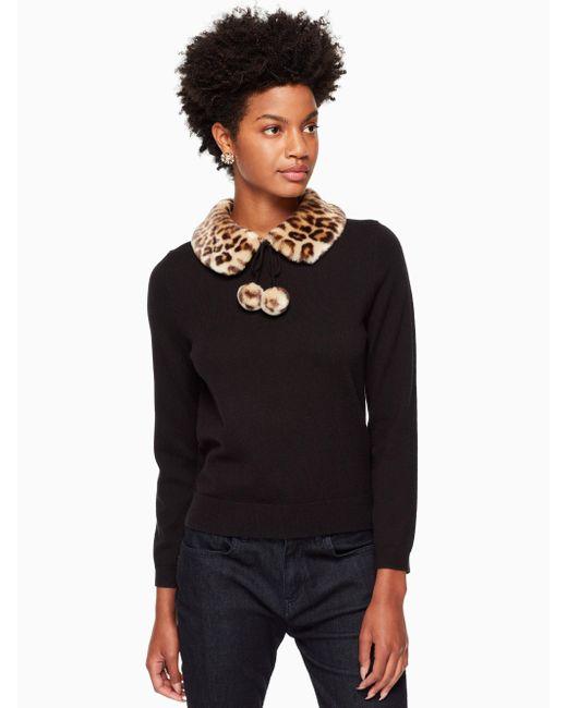 Kate Spade | Black Leopard-print Collar Sweater | Lyst