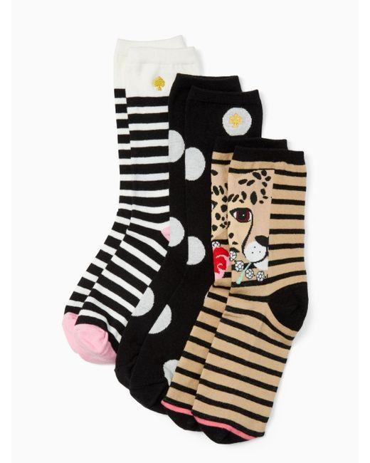 Kate Spade | Black Cheetah Trouser Sock Set | Lyst