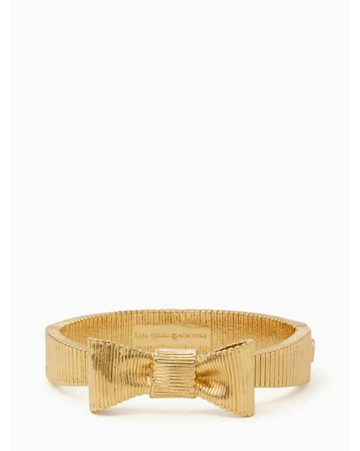 Kate Spade | Metallic All Wrapped Up Bow Hinged Bangle | Lyst