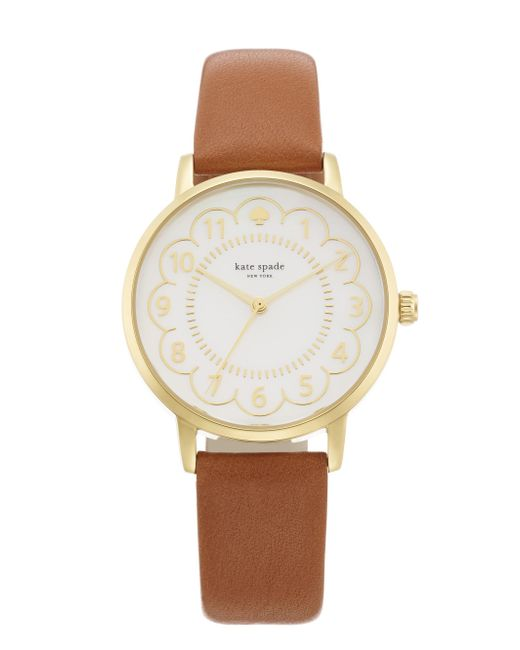 Kate Spade - Metallic Metro Scallop Brown Leather Watch - Lyst