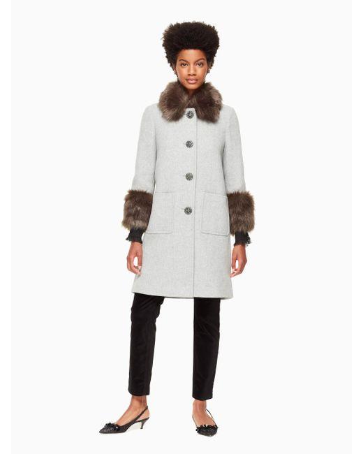 Kate Spade - Gray Faux Fur Trim Coat - Lyst