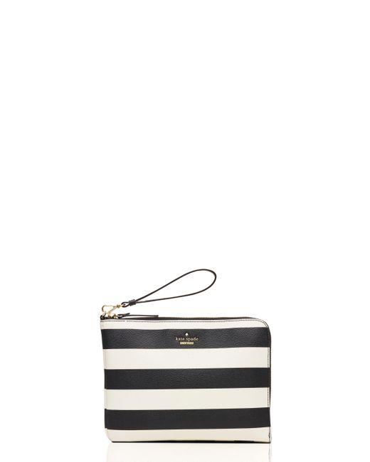 kate spade new york | Natural Quentin Stripe Leather Pouch | Lyst