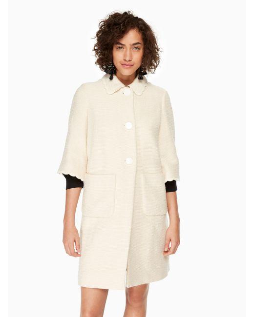 Kate Spade | Natural Textured Tweed Coat | Lyst