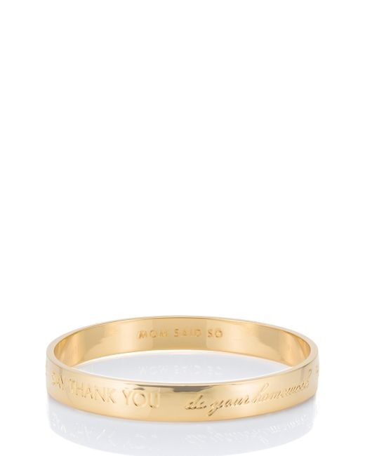 kate spade new york | Metallic Mom Engraved Idiom Bangle | Lyst