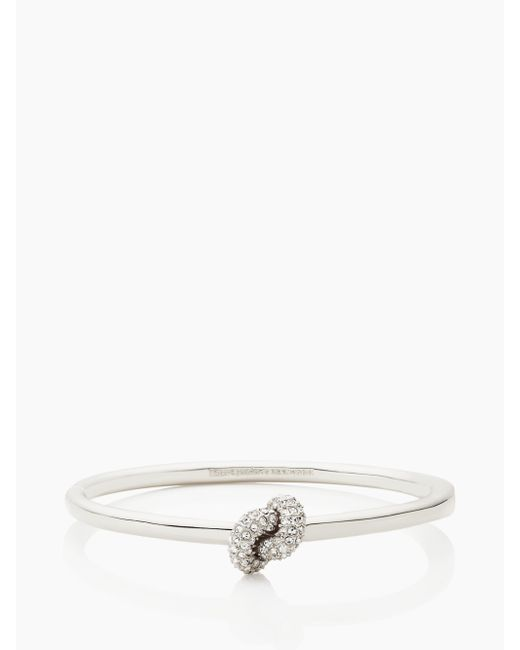 Kate Spade | Metallic Sailor's Knot Pave Hinge Bangle | Lyst
