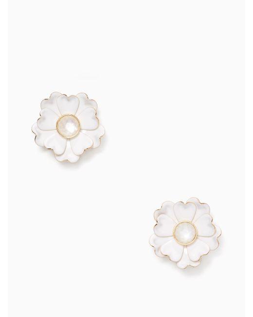 Kate Spade | White Bright Blossom Flower Statement Studs | Lyst