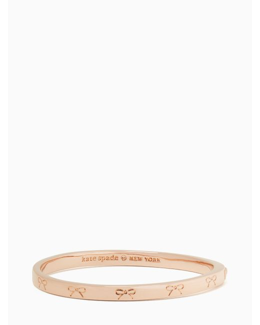 Kate Spade | Pink Heavy Metals Engraved Bow Bangle | Lyst