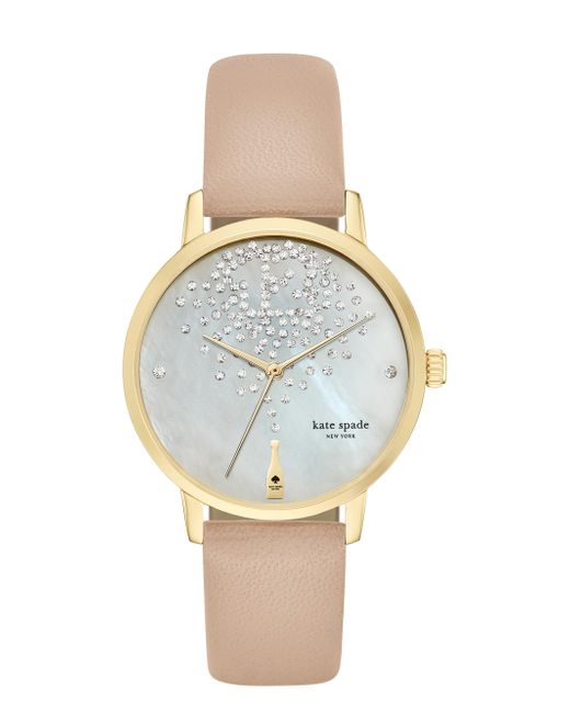 Kate Spade - Natural Metro Champagne At Midnight Vachetta Leather Watch - Lyst