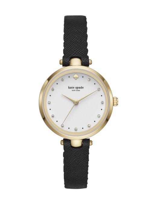 Kate Spade - Metallic Holland Scallop Black Leather Watch - Lyst