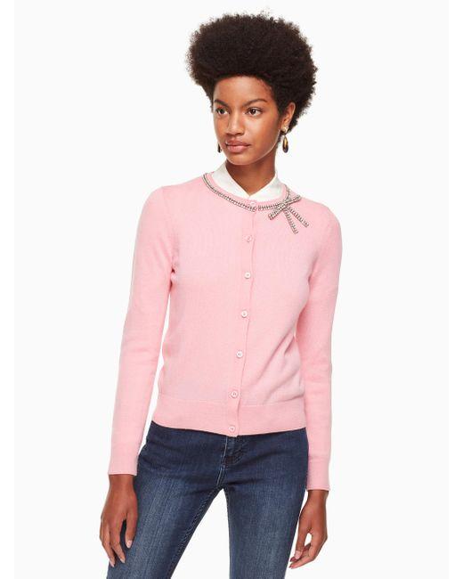 Kate Spade - Pink Bow Embellished Cardigan - Lyst